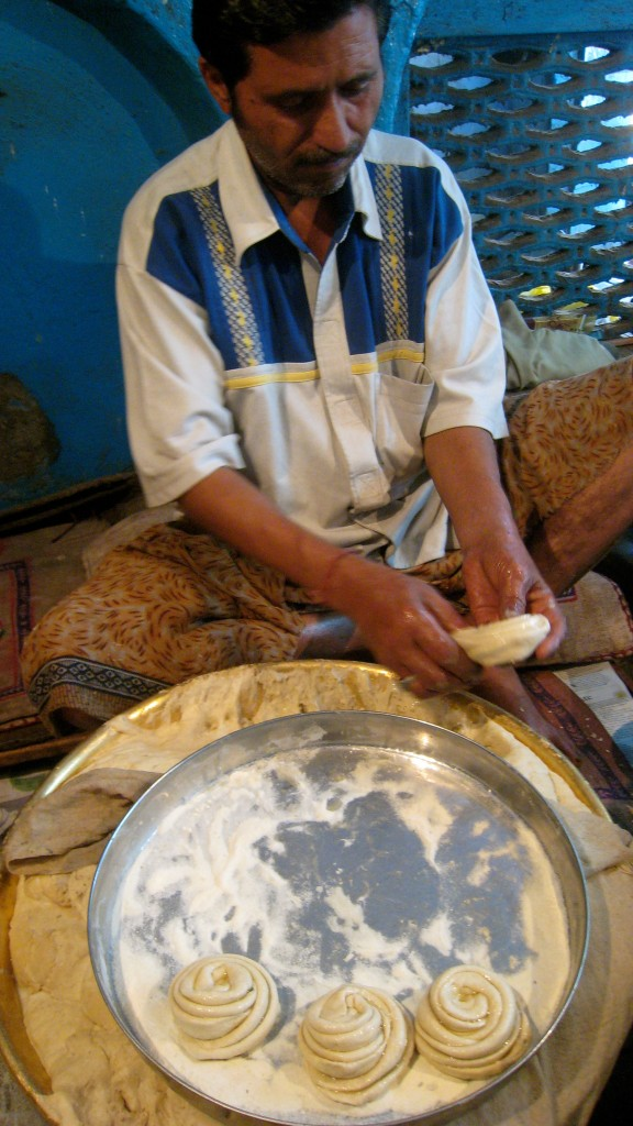 shaping paratha dough