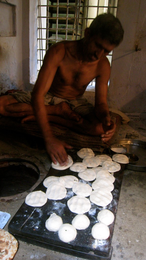 plain parathas as dough in Kesar da Dhaba