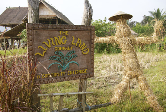 Living Land Farm Sign in Luang Prabang, Laos