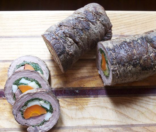 Rolled, cooked and sliced matambre