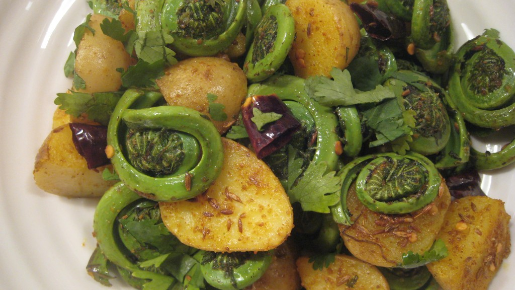 Fiddleheads cooked with Indian spices