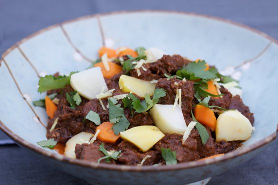 Indian beef curry with root vegetables