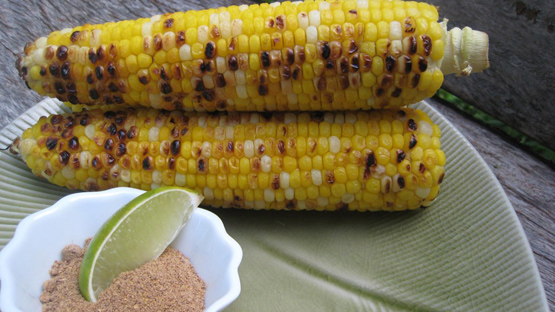 Grilled Corn Cobs Indian Style or Indian Corn Chaat