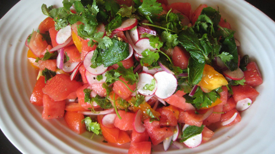 Salad of watermelon and tomato