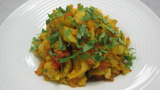 Kohlrabi bharta as a finished dish