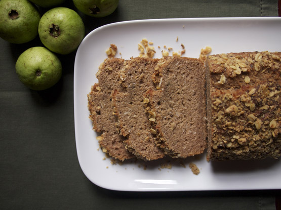 guava banana coconut bread and fresh guavas