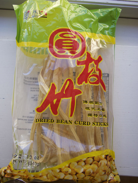 Dried tofu skin or dried bean curd sticks