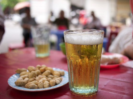 Fresh beer in a Hanoi beer glass
